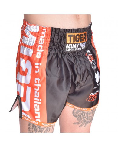 Pantaloncini thai kickboxing in satin black tiger PAN-1992