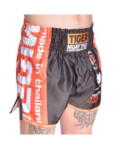 Pantaloncini thai kickboxing in satin black tiger PAN-1992